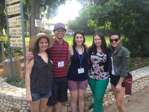 JNFuture Arizona board members, from left, Penelope Karp Abad, Andy Becker, Talyah Sands, Jennifer Starrett, Stephanie Kelman visit Alexander Muss High School in Israel. Photo courtesy of Jennifer Starrett